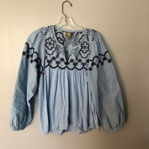 One September | Embroidered peasant top | S